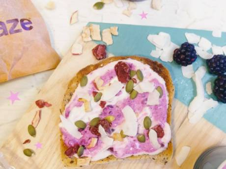 unicorn toast with baobab and raspberry clusters