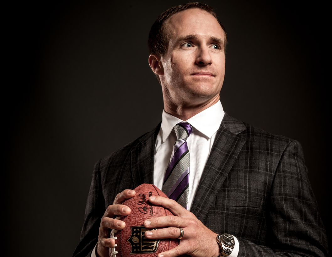 Picture of Drew Brees holding a football