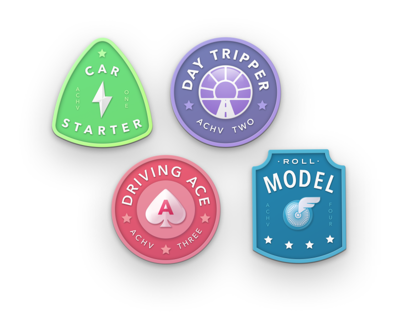 Multi-colored safe driving achievement badges.