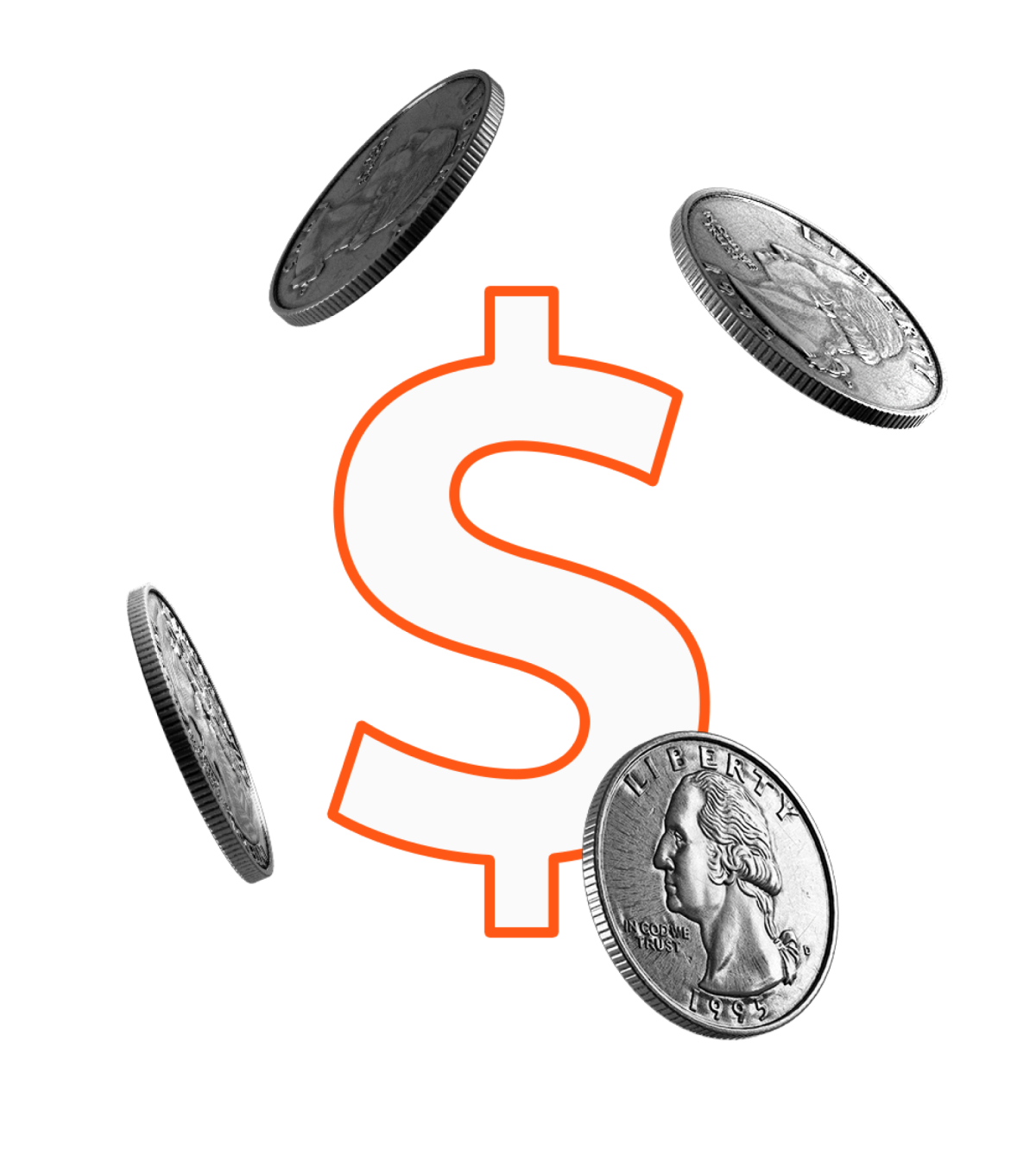 Quarters falling around large orange dollar sign