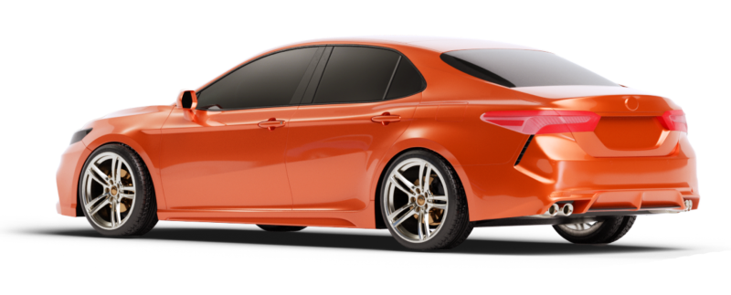 Shiny orange sedan is fully repaired