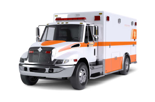 White ambulance with orange stripes