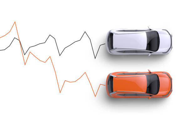 Graphic showing a Root orange sedan driving along decreasing prices on a graph