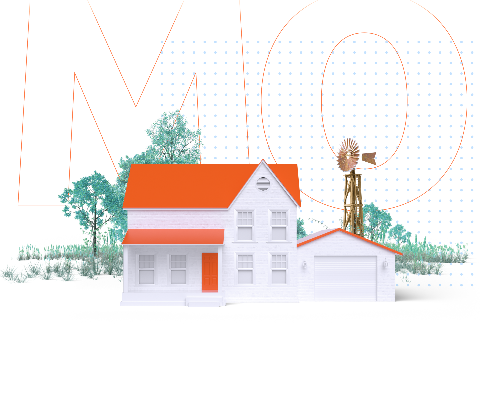 House in front of trees with a windmill and the abbreviation MO for Missouri