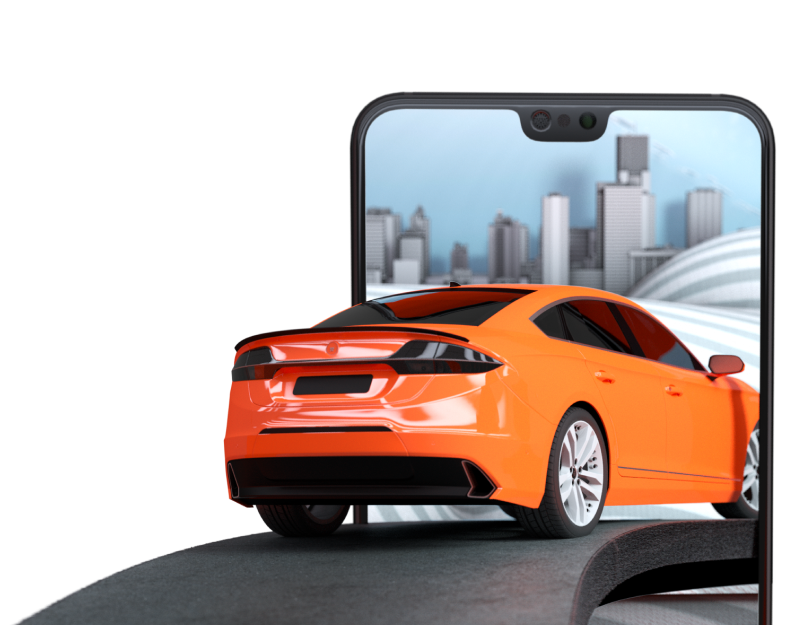 Orange sedan drives into smartphone screen showing a cityscape