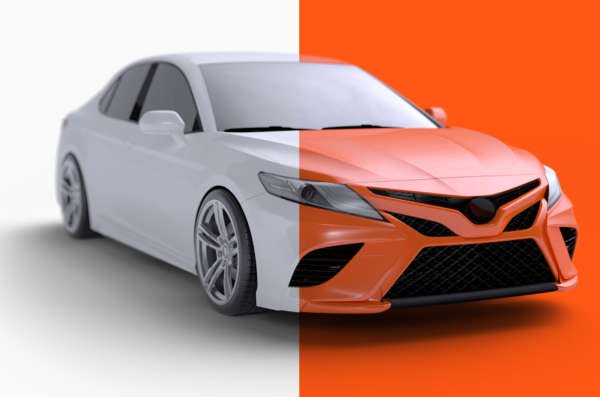 A sedan is half white and half Root orange representing switching to Root car insurance