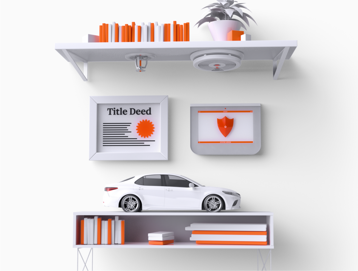 Shelf displaying white and orange books, a white car, and a homeowner's title deed