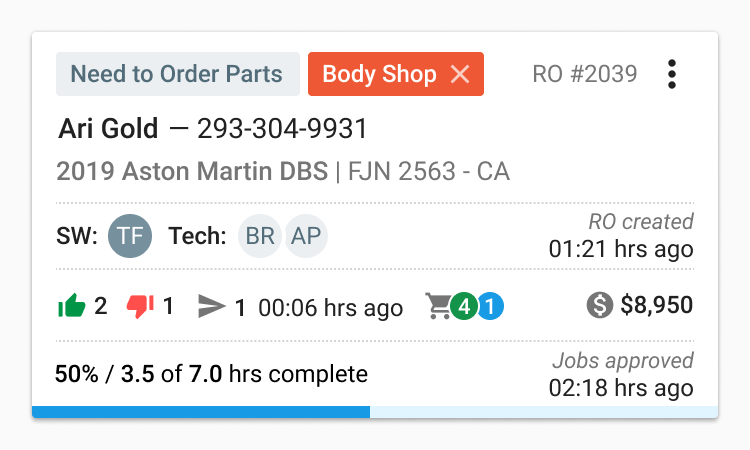 Auto repair shop service writers can see repair order details in Tekmetric.