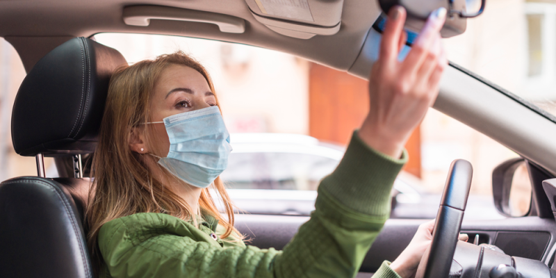 Woman Driver with Face Mask