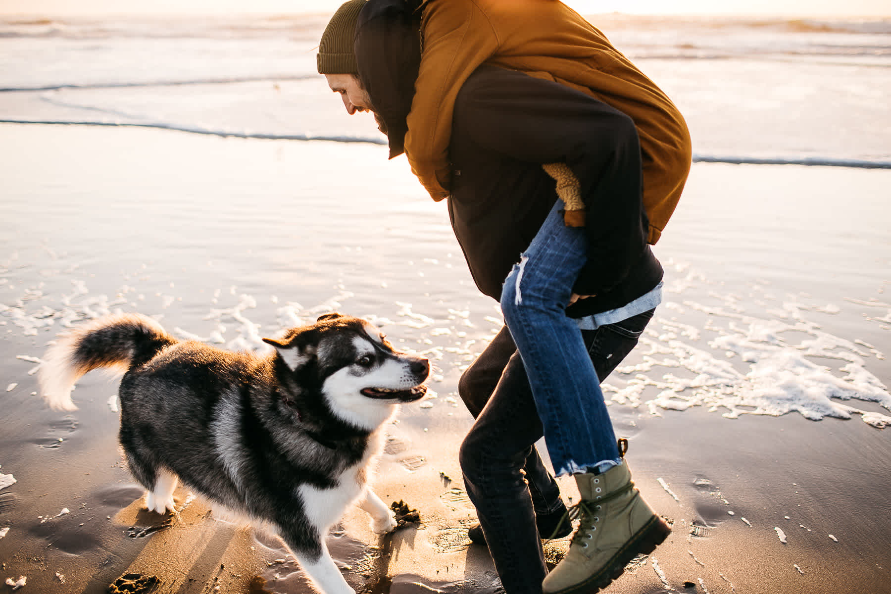 ocean-beach-sf-malamute-couple-session-golden-light-11
