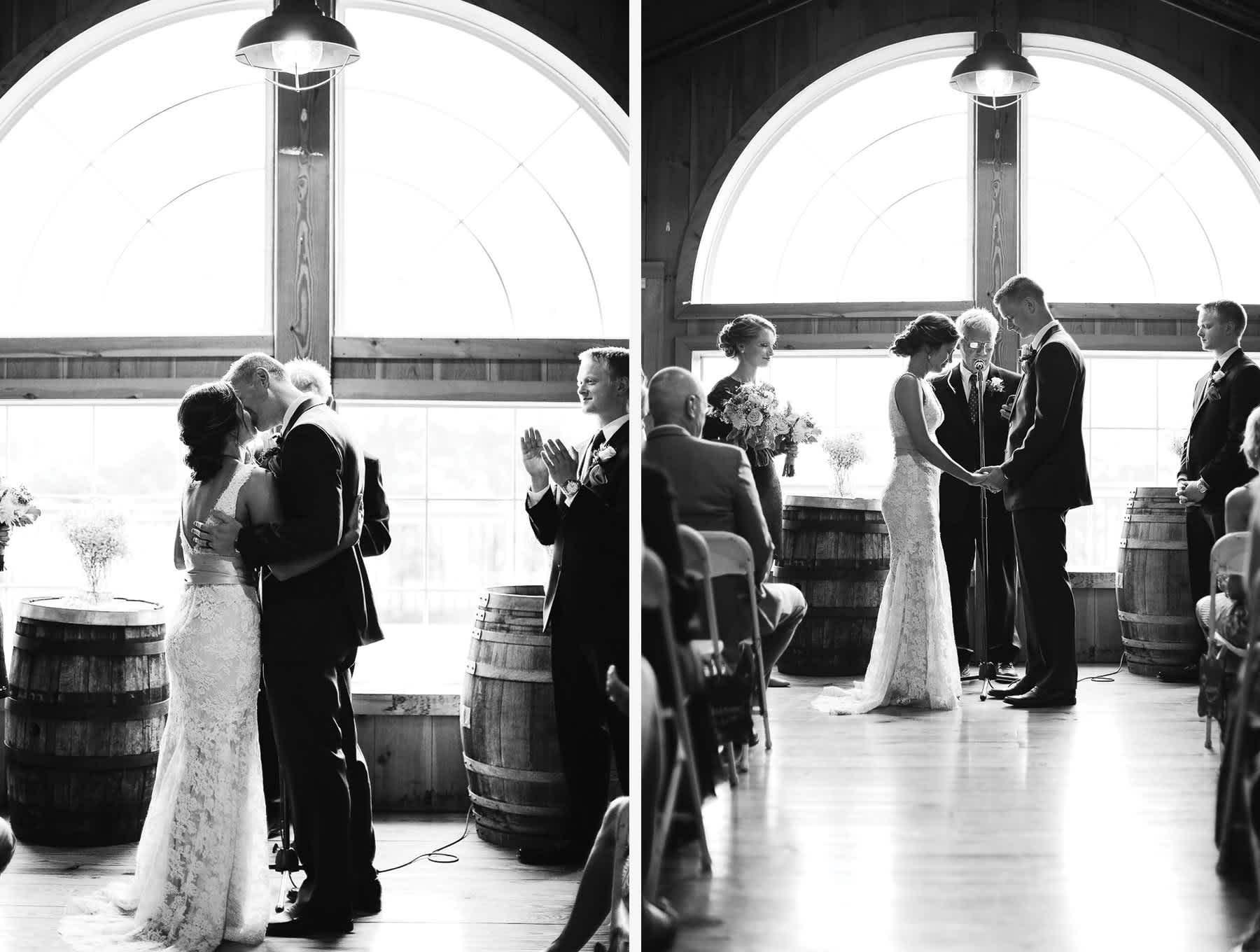 first-kiss-wedding-ceremony-pennsylvania-rosebank-winery