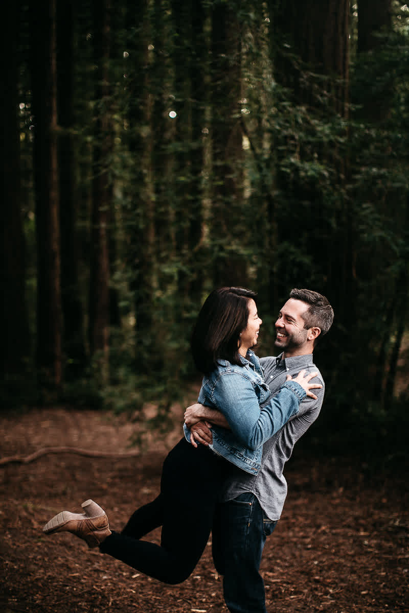 oakland-gloomy-redwood-engagement-session-with-puppy-6