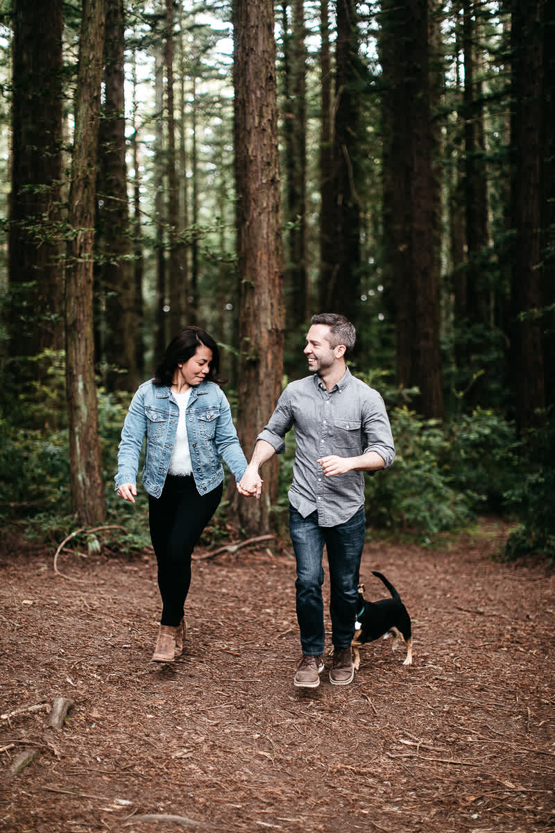 oakland-gloomy-redwood-engagement-session-with-puppy-2