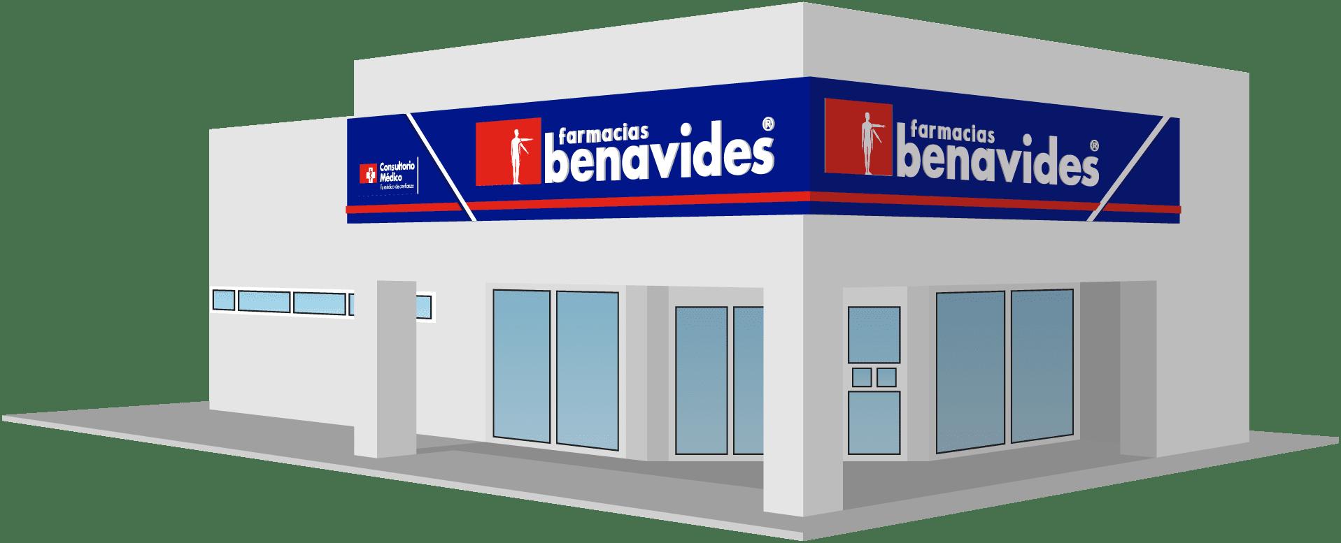 Fachada frontal de sucursal Farmacias Benavides