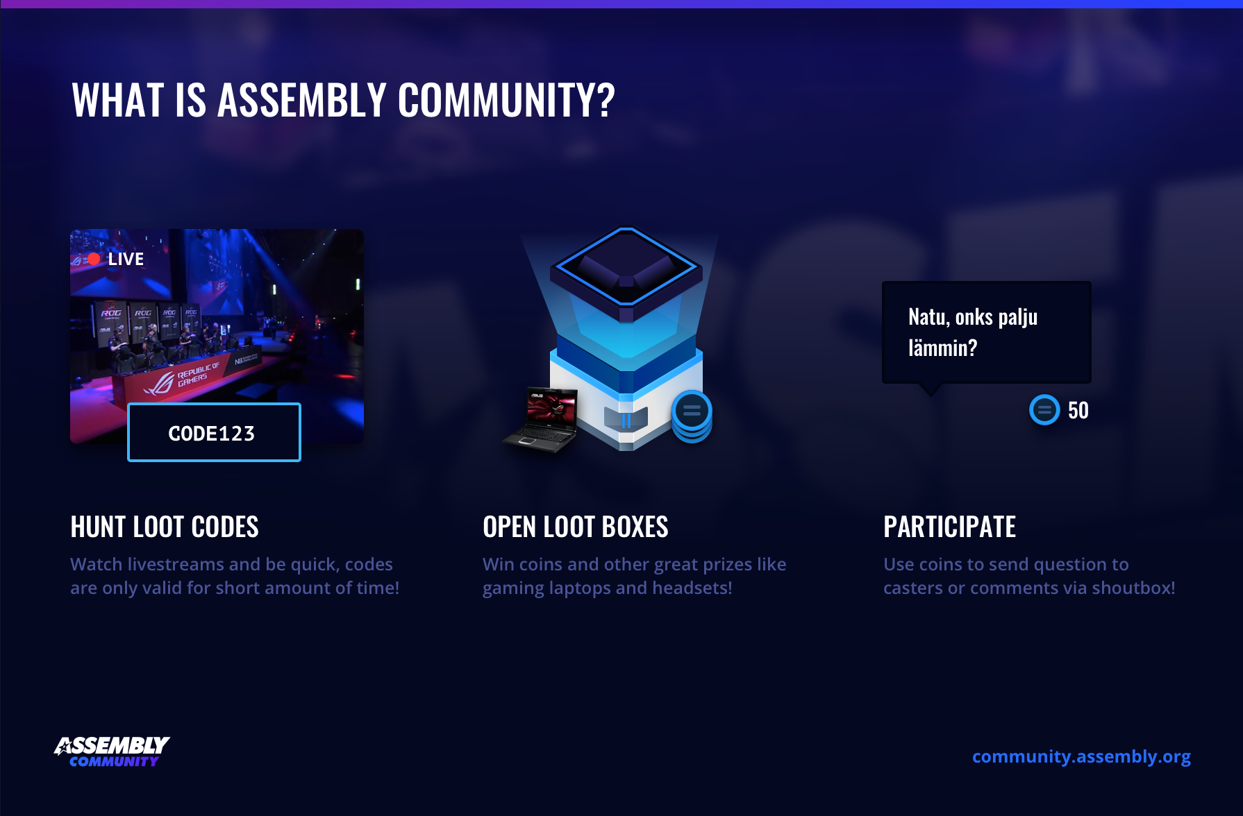 Watch streams and win loot from Assembly Community