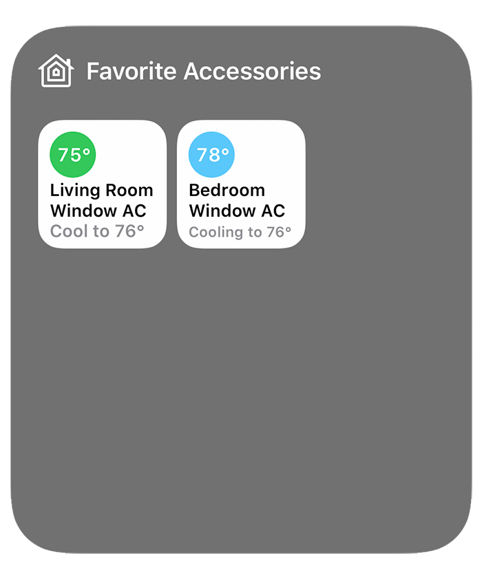 Homebridge air conditioners in the iOS control center