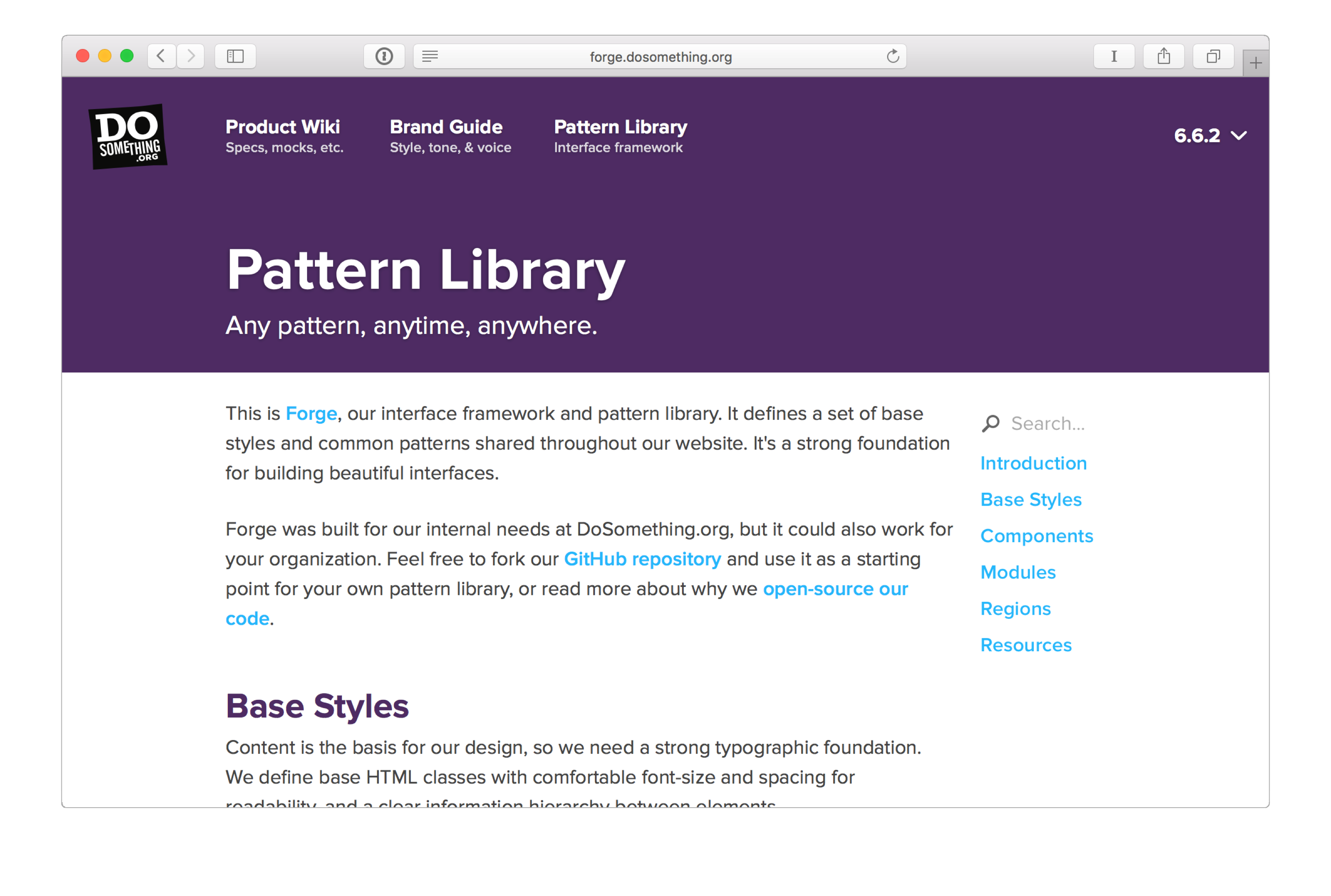 A screenshot of Forge, the DoSomething.org pattern library.