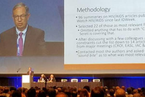 Carlos Del Rio, M.D., addresses attendees at last year's IDWeek conference (Credit Myles Helfand)