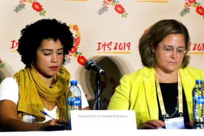 Fernanda Fernandes Fonseca and Meg Doherty at an IAS 2019 press conference