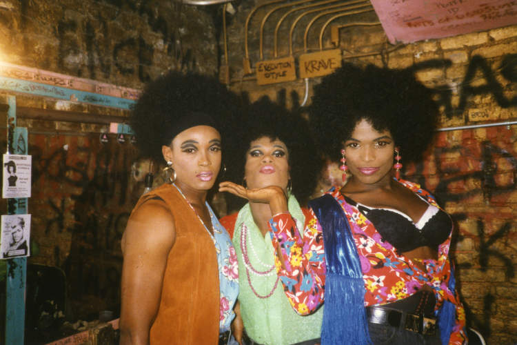 Afrodite, London Broil, and Ebony Jet in the Pyramid dressing room in 1992