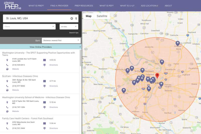 PleasePrEPMe screenshot: St. Louis provider search