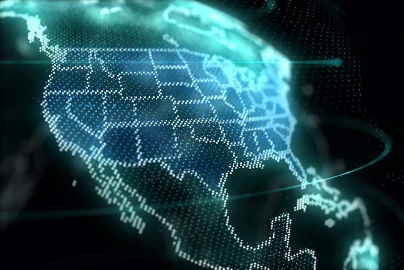 US map hologram