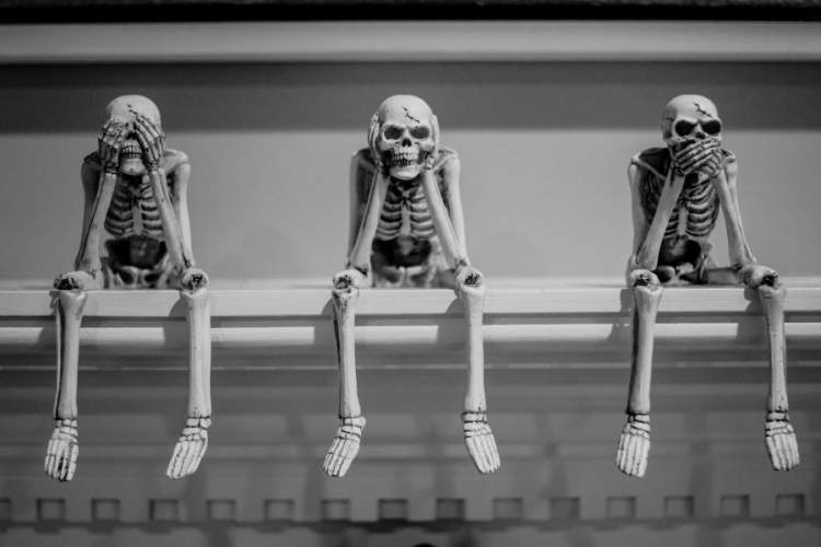 "three human skeleton models doing ""see no evil, hear no evil, speak no evil"""