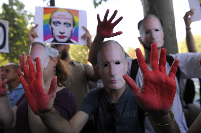 Demonstrators Protest Against Russian Anti Gay Laws Outside Their Embassy