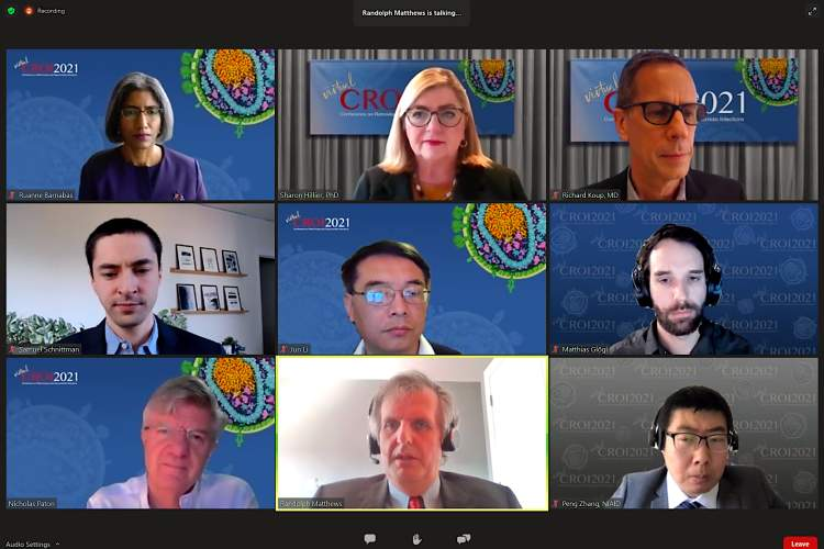 Researchers on a Zoom meeting during a CROI 2021 press conference