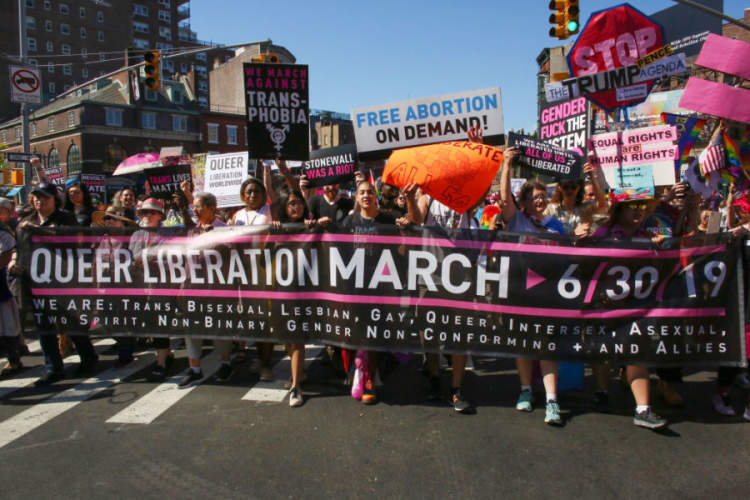 Activists participate in the Queer Liberation March on June 30, 2019 in New York City.