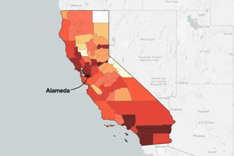 map of California pointing out Alameda County