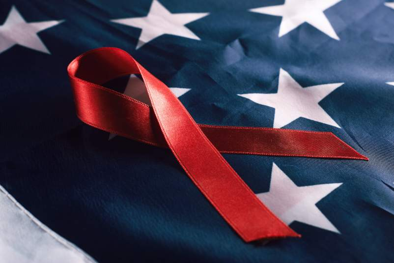 USA red ribbon