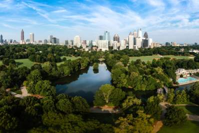 Atlanta Skyline with lake Lake Clara