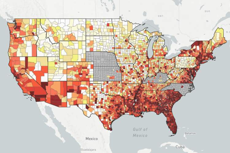 AIDSVu map that depicts state-by-state rates of people living with HIV in the U.S.