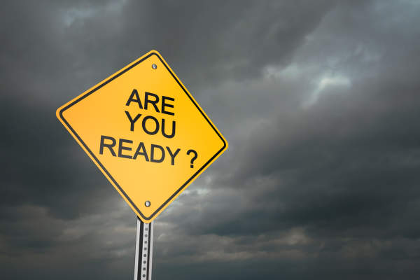 """Are you ready?"" warning sign."