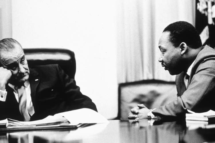 President Lyndon B Johnson discusses the Voting Rights Act with Martin Luther King Jr.