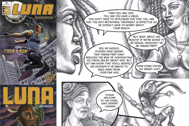 Collage of comic book covers and pages from Luna Unleased