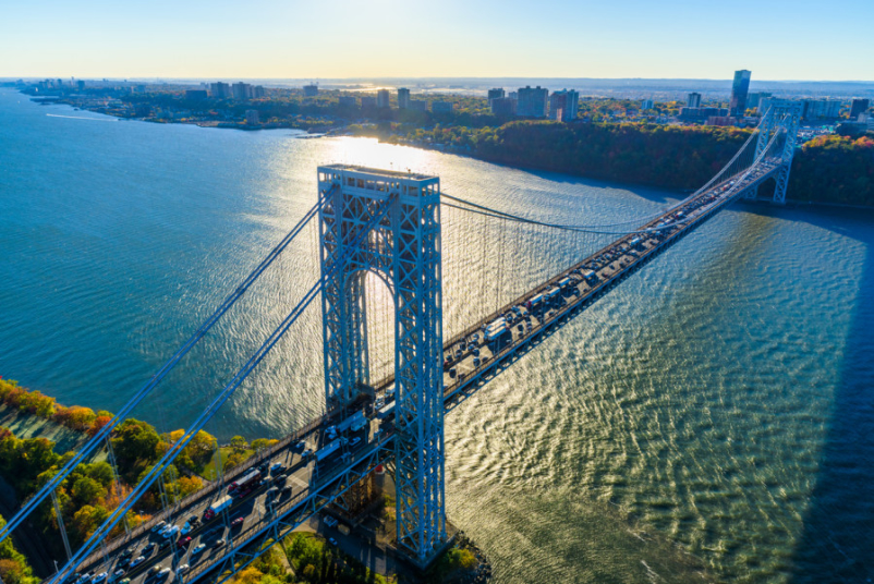 View of the George Washington Bridge and Hudson River from above