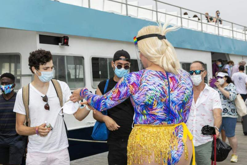 handing out masks Fire Island