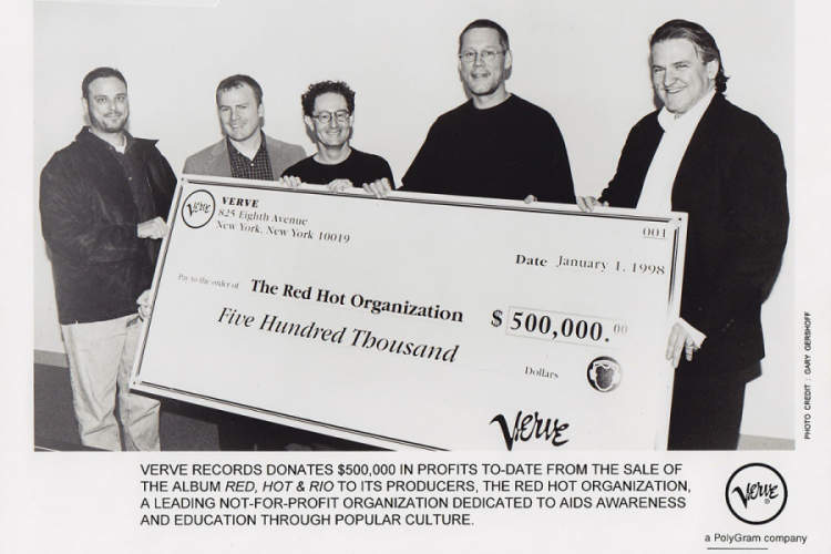 Verve Records donating $500,000 from the sale of Red Hot + Rio in 1998