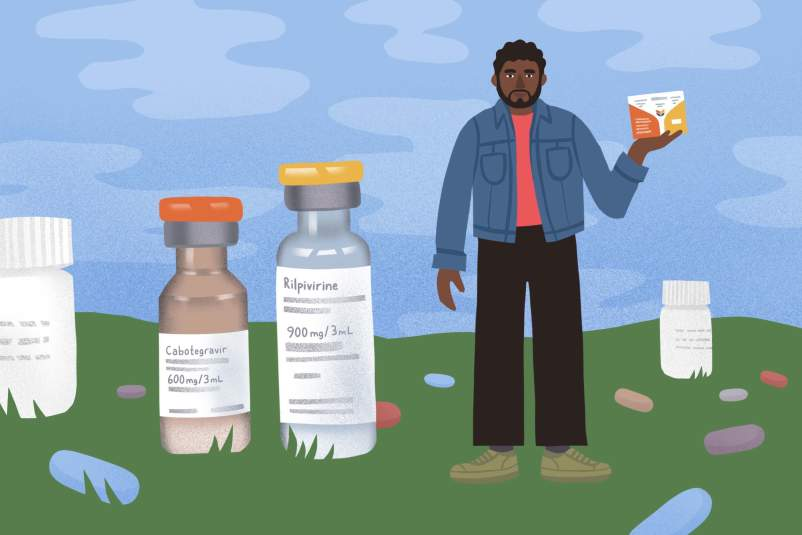 illustration of larger-than-life cabotegravir and rilpivirine bottles alongside a person holding a Cabenuva box