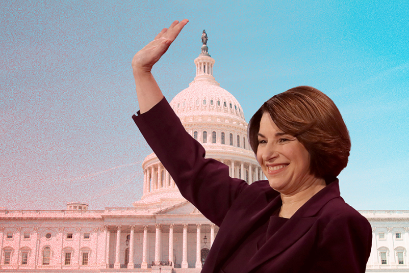 Sen. Amy Klobuchar superimposed over Capitol building