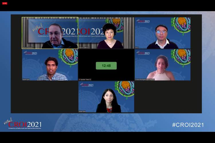 CROI 2021 virtual oral abstract session featuring speakers in tiny video boxes