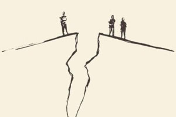 cartoon of people looking into a chasm