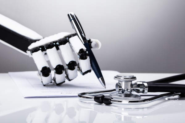 Robotic Hand with stethoscope writing prescription