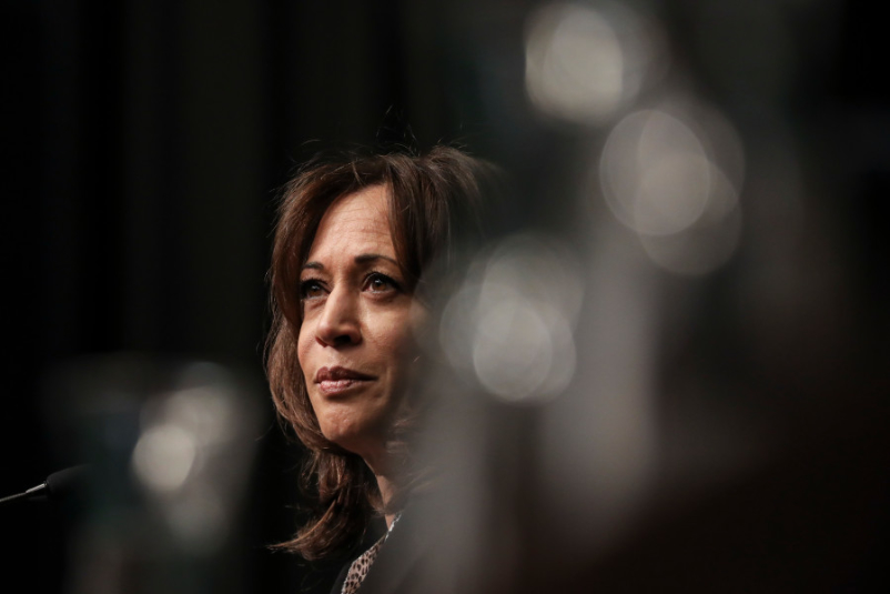 U.S. Sen. Kamala Harris (D-CA) speaks at the National Action Network's annual convention, April 5, 2019 in New York City.