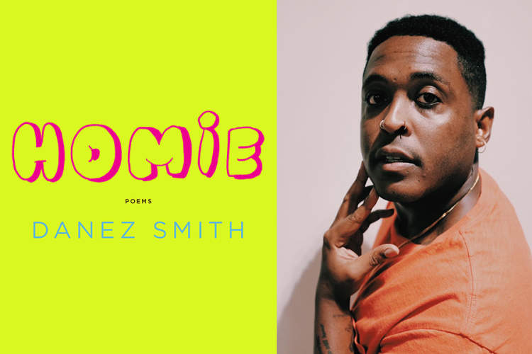 Book cover of 'Homie' by Danez Smith; head shot of Danez Smith