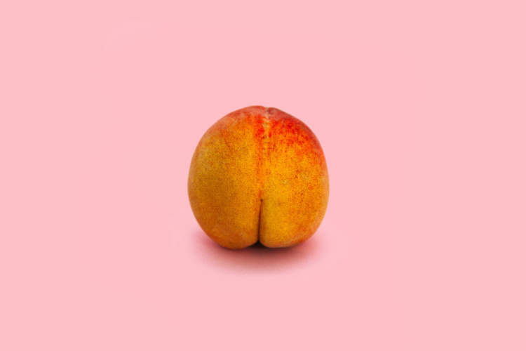 peach on pink background
