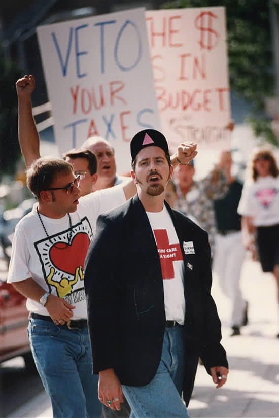 Peter Stinner and Jeff Graham at a protest
