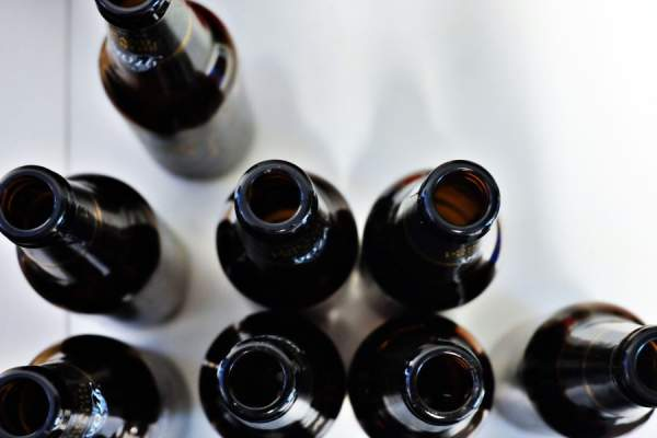 Open beer bottles, overhead view